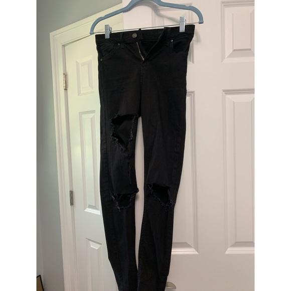 Topshop Denim - TopShop Ripped Black Jeans